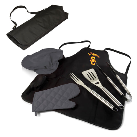 The Southern California Trojans BBQ Apron Tote Pro Grill Tool Set