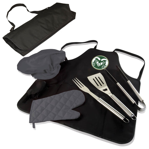 The Colorado State Rams BBQ Apron Tote Pro Grill Tool Set