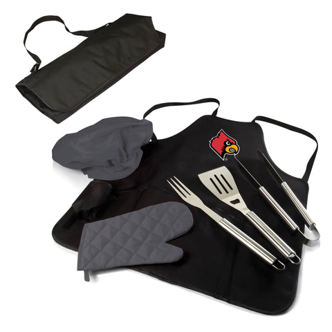 The Louisville Cardinals BBQ Apron Tote Pro Grill Tool Set