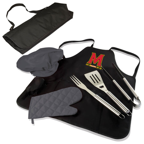 The Maryland Terrapins BBQ Apron Tote Pro Grill Tool Set