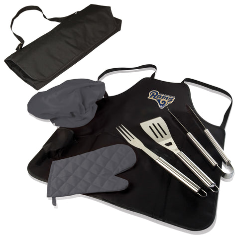 Los Angeles BBQ Apron Tote and Rams Grill Tool Set