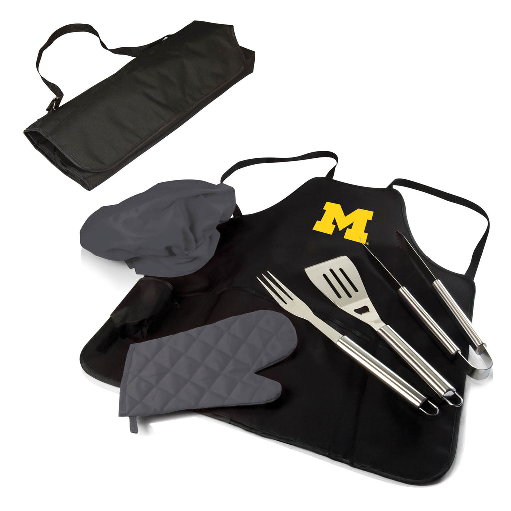 The Michigan Wolverines BBQ Apron Tote Pro Grill Tool Set