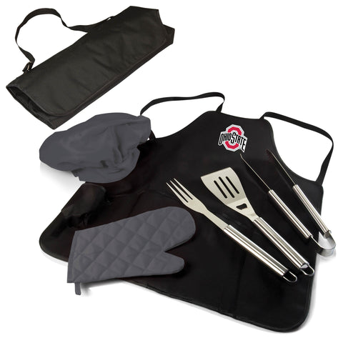 The Ohio State Buckeyes BBQ Apron Tote Pro Grill Tool Set