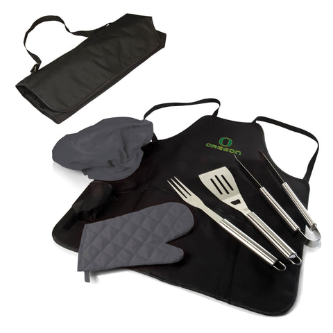The Oregon Ducks BBQ Apron Tote Pro Grill Tool Set