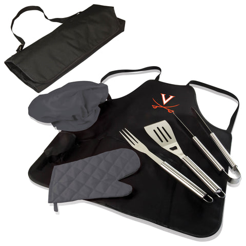 The Virginia Cavaliers BBQ Apron Tote Pro Grill Tool Set