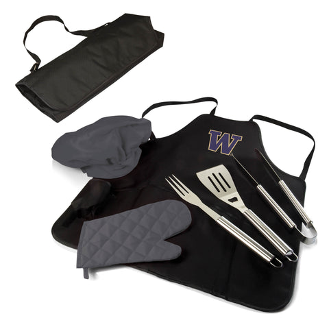 The Washington Huskies BBQ Apron Tote Pro Grill Tool Set
