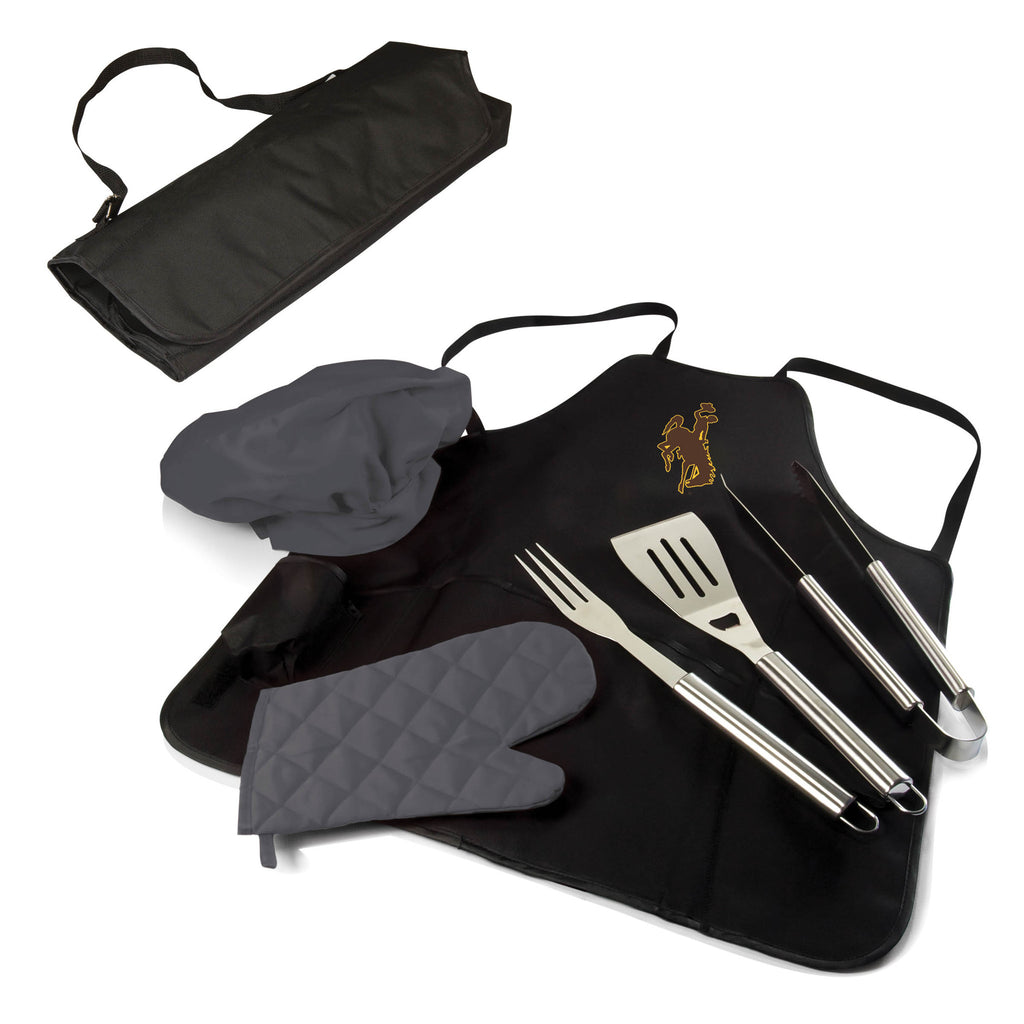 The Wyoming Cowboys BBQ Apron Tote Pro Grill Tool Set