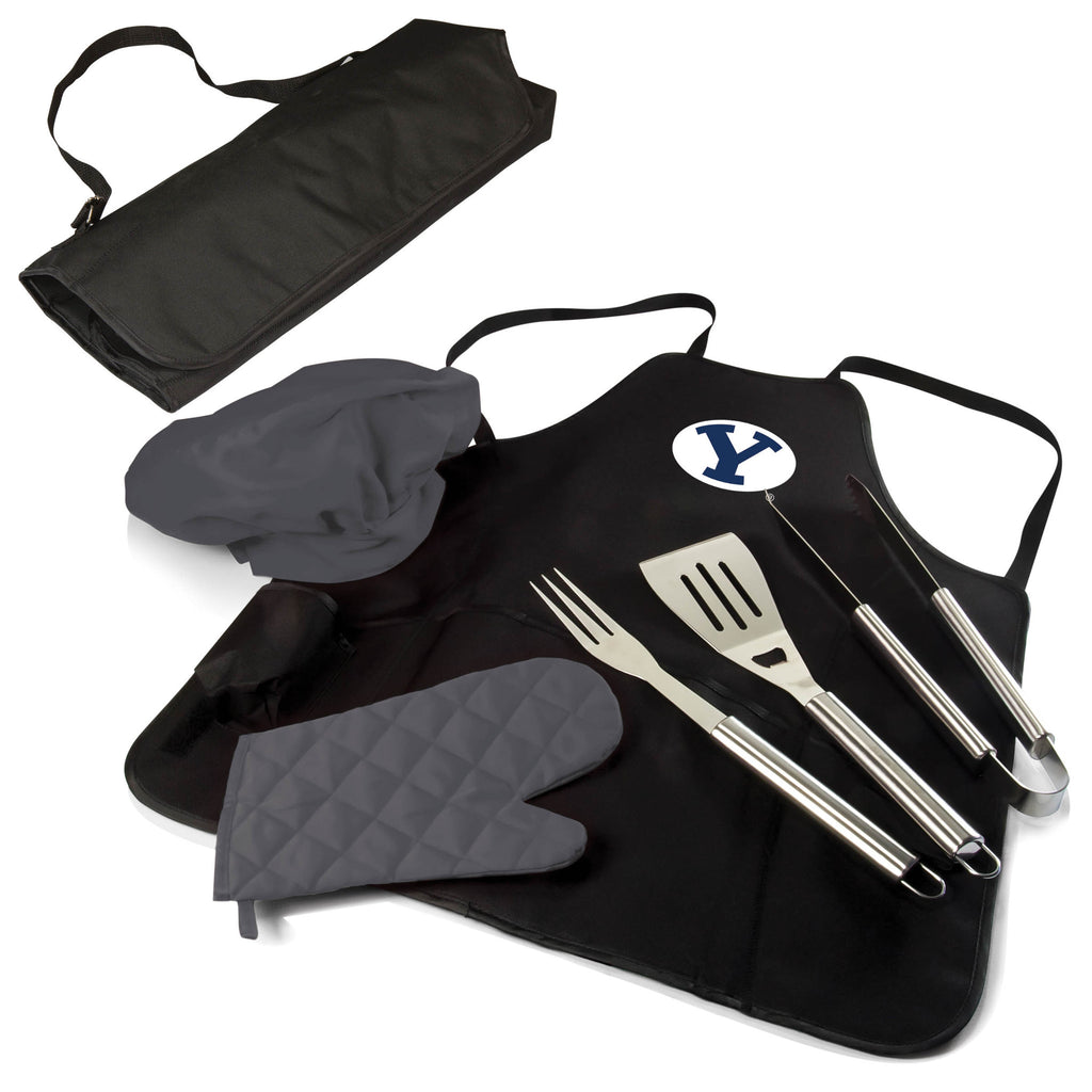 The Brigham Young Cougars BBQ Apron Tote Pro Grill Tool Set