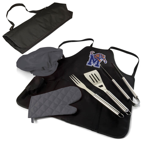 The Memphis Tigers BBQ Apron Tote Pro Grill Tool Set