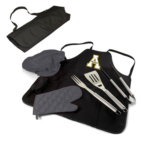 The Appalachian State Mountaineers BBQ Apron Tote Pro Grill Tool Set