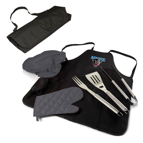 The Maine Black Bears BBQ Apron Tote Pro Grill Tool Set