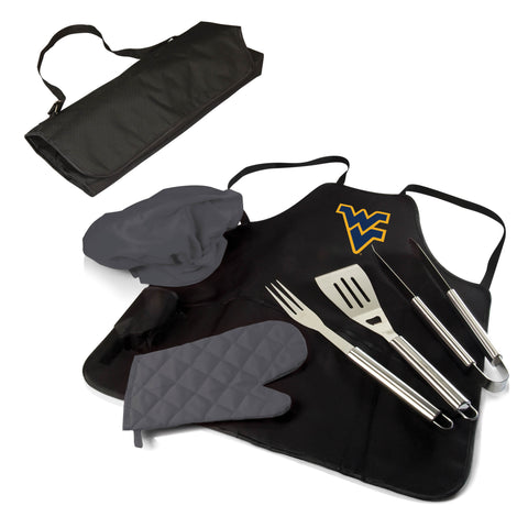 The West Virginia Mountaineers BBQ Apron Tote Pro Grill Tool Set