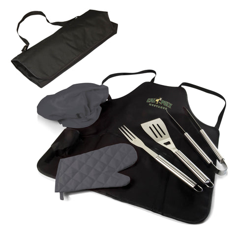 The Cal Poly Mustangs BBQ Apron Tote Pro Grill Tool Set