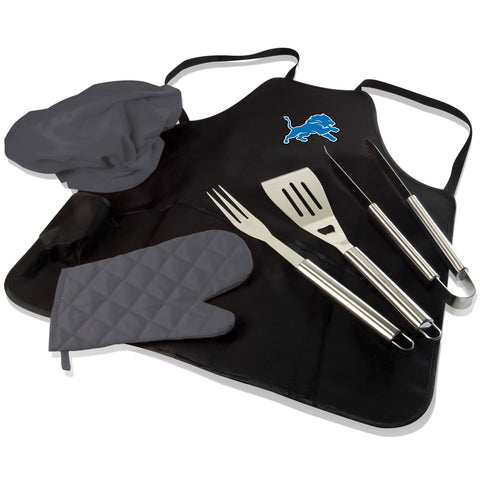 Detroit BBQ Apron Tote and Lions Grill Tool Set