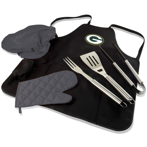 Green Bay BBQ Apron Tote and Packers Grill Tool Set