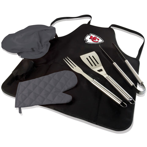 Kansas City BBQ Apron Tote and Chiefs Grill Tool Set