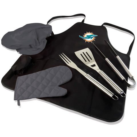 Miami BBQ Apron Tote and Dolphins Grill Tool Set