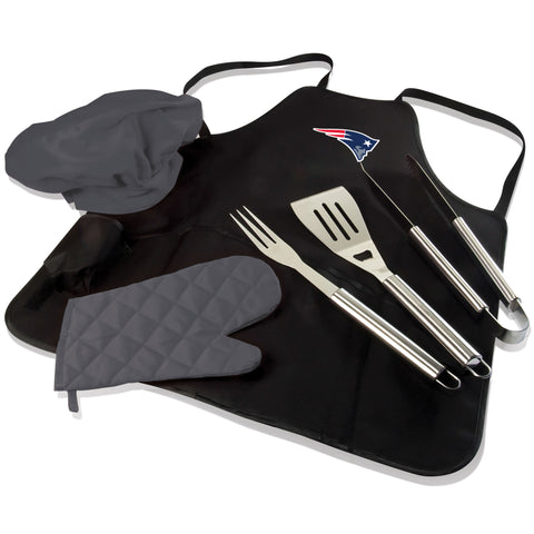 New England BBQ Apron Tote and Patriots Grill Tool Set