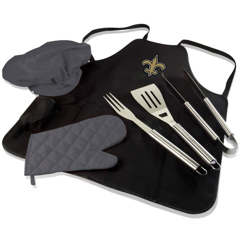 New Orleans BBQ Apron Tote and Saints Grill Tool Set