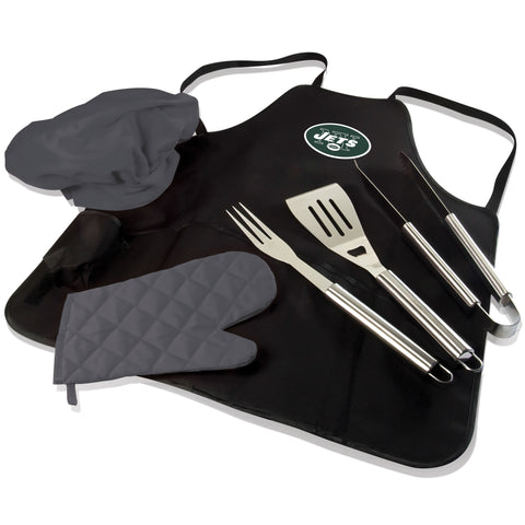 New York BBQ Apron Tote and Jets Grill Tool Set