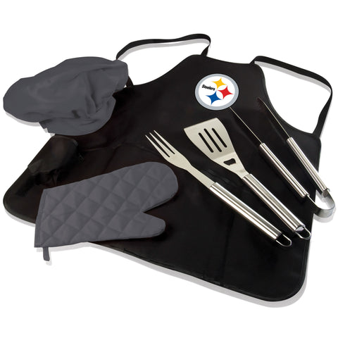 Pittsburgh BBQ Apron Tote and Steelers Grill Tool Set