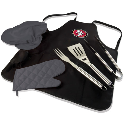 San Francisco BBQ Apron Tote and 49ers Grill Tool Set
