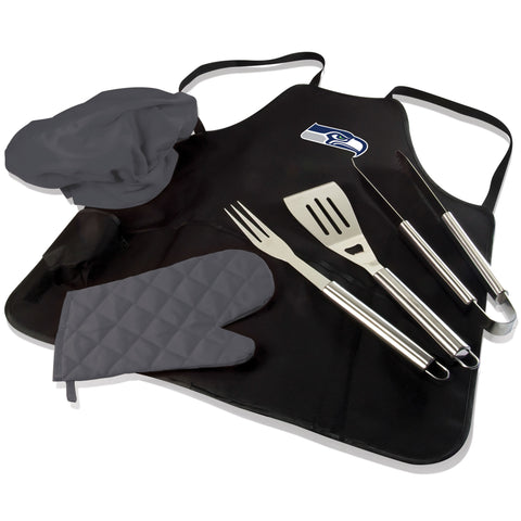 Seattle BBQ Apron Tote and Seahawks Grill Tool Set