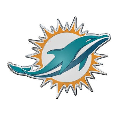 The Miami Dolphin logo car and truck emblem for Dolphins team cars
