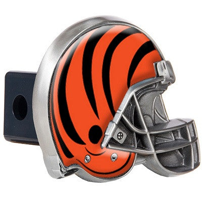 The Cincinnati Bengal Helmet Shaped Trailer Hitch Cover for NFL Bengals fan Trucks