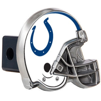 The Indianapolis Colt Helmet Shaped Trailer Hitch Cover for NFL Colts fan Trucks