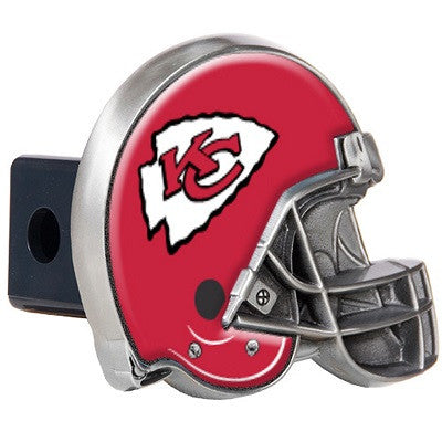 The Kansas City Chief Helmet Shaped Trailer Hitch Cover for NFL Chiefs fan Trucks