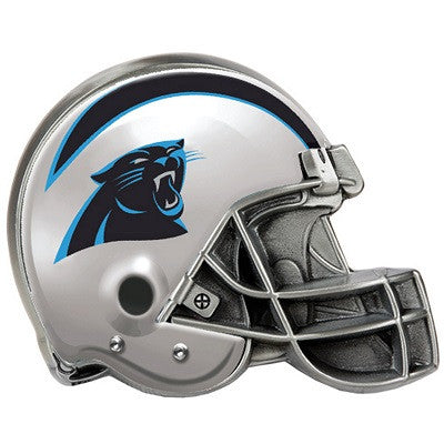 The Carolina Panther Helmet Shaped Trailer Hitch Cover for NFL Panthers fan Trucks