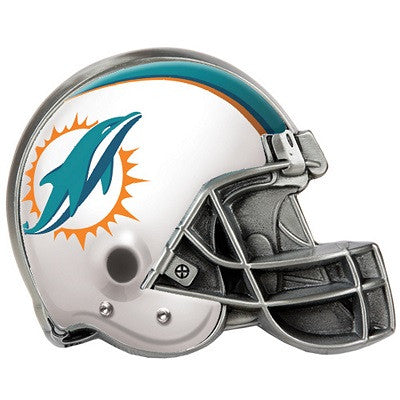The Miami Dolphin Helmet Shaped Trailer Hitch Cover for NFL Dolphins fan Trucks