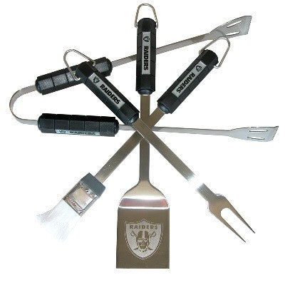 The Oakland Raider Grill Tool Set with four pieces for Raiders fan Grilling