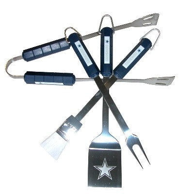 The Dallas Cowboy Grill Tool Set with four pieces for Cowboys fan Grilling