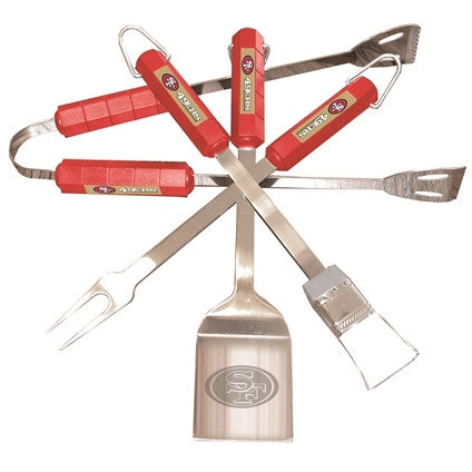 The San Francisco 49er Grill Tool Set with four pieces for 49ers fan Grilling