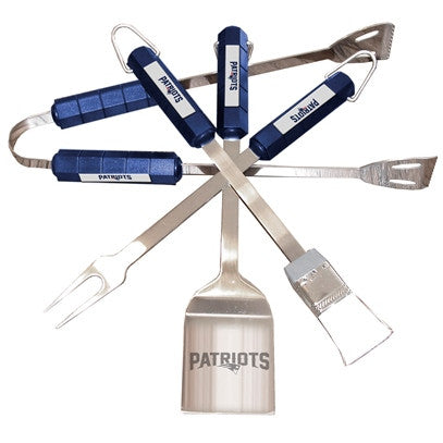 The New England Patriot Grill Tool Set with four pieces for Patriots fan Grilling