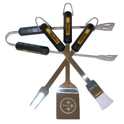 The Pittsburgh Steeler Grill Tool Set with four pieces for Steelers fan Grilling