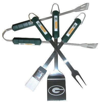 The Green Bay Packer Grill Tool Set with four pieces for Packers fan Grilling
