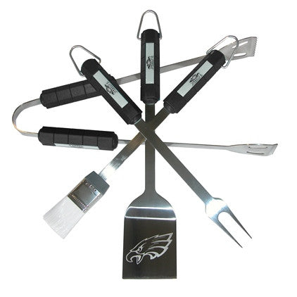The Philadelphia Eagle Grill Tool Set with four pieces for Eagles fan Grilling
