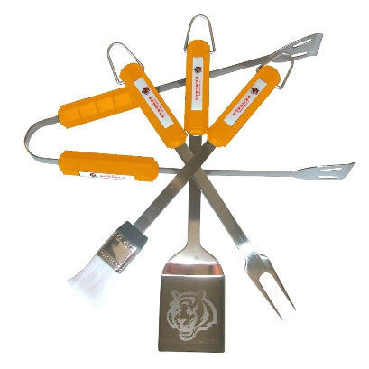 The Cincinnati Bengal Grill Tool Set with four pieces for Bengals fan Grilling