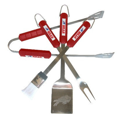 The Buffalo Bill Grill Tool Set with four pieces for Bills fan Grilling