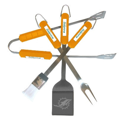 The Miami Dolphin Grill Tool Set with four pieces for Dolphins fan Grilling