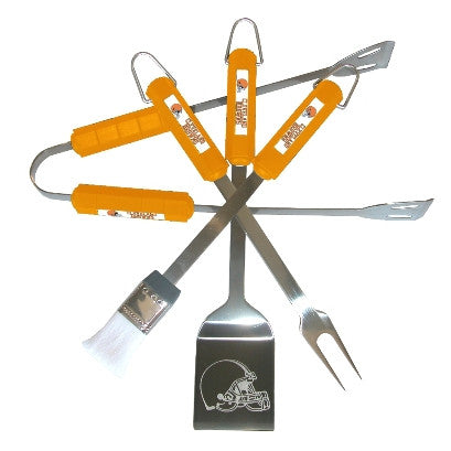The Cleveland Brown Grill Tool Set with four pieces for Browns fan Grilling