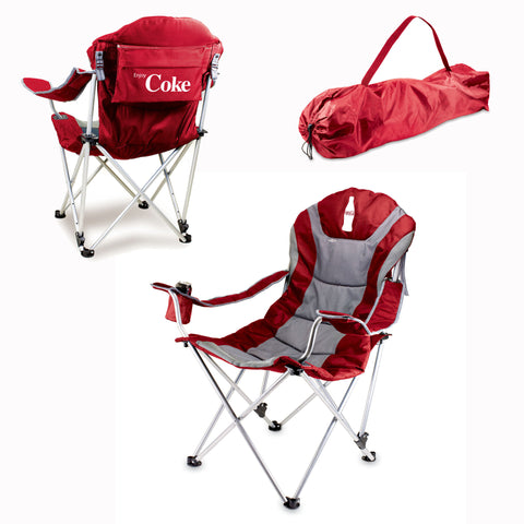 The Coca Cola Reclining Camp Chair - Red  - Picnic Time 803-00-100-911-0
