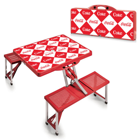 The Coca Cola Picnic Table - Red -Checkered Print - Picnic Time 811-00-100-915-0