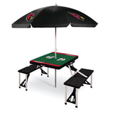 Cardinals Picnic Table - Black with umbrella