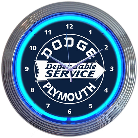 Neonetics Dodge Dependable Service Neon Clock - 8DODGE
