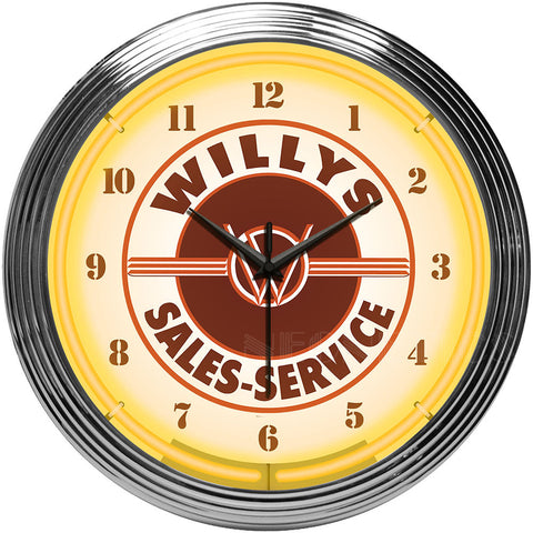 Neonetics Willys Sales Service Jeep Neon Clock - 8JEEPW