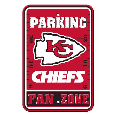 The Kansas City Chief Fan Zone Parking Only Sign in Chiefs NFL Car accessories